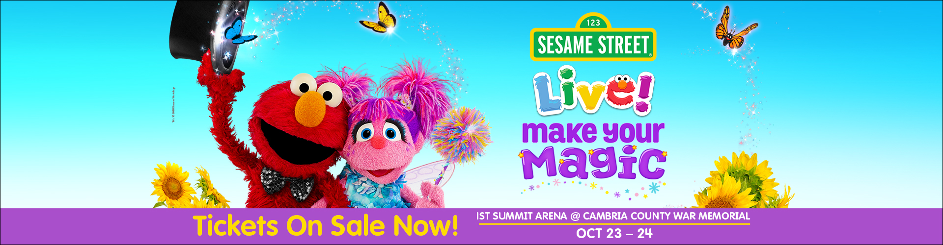 Elmo and Abby posing together for Sesame Street Live Make Your Magic. Tickets on sale now for 1st Summit Arena at Cambria County War Memorial on October 23 and 24.